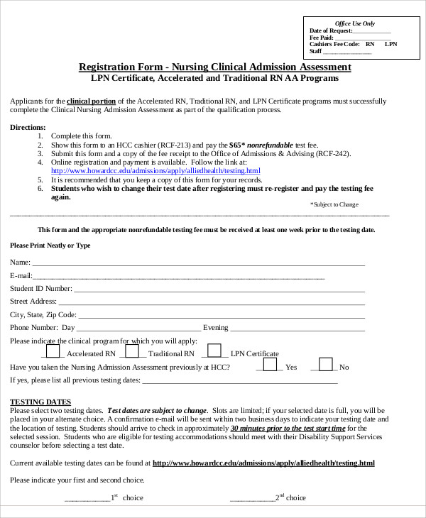 9+ Nursing Assessment Form Samples Sample Templates - nursing assessment forms