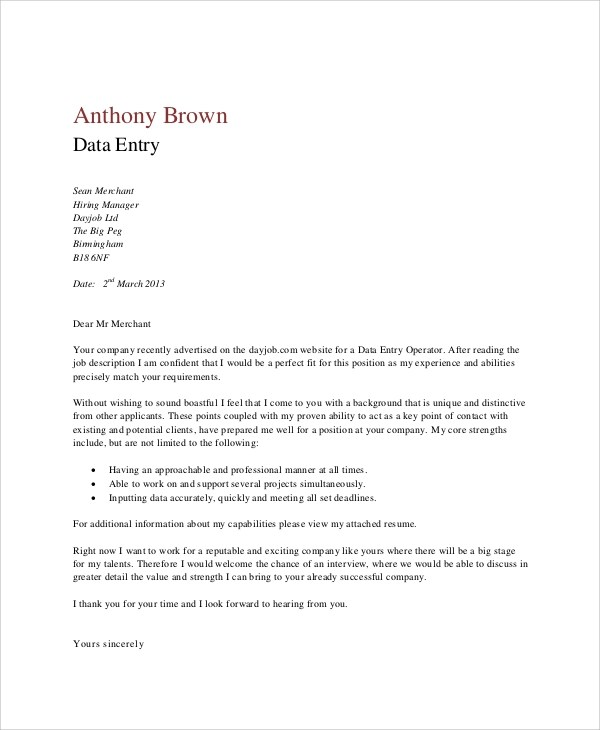 4 Data Entry Cover Letters - Examples in Word, P
