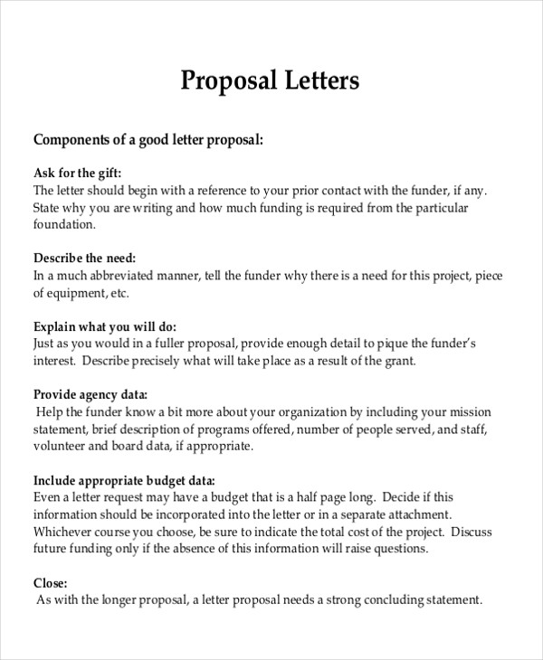 8 Sample Formal Proposal Letters Sample Templates - proposal latter