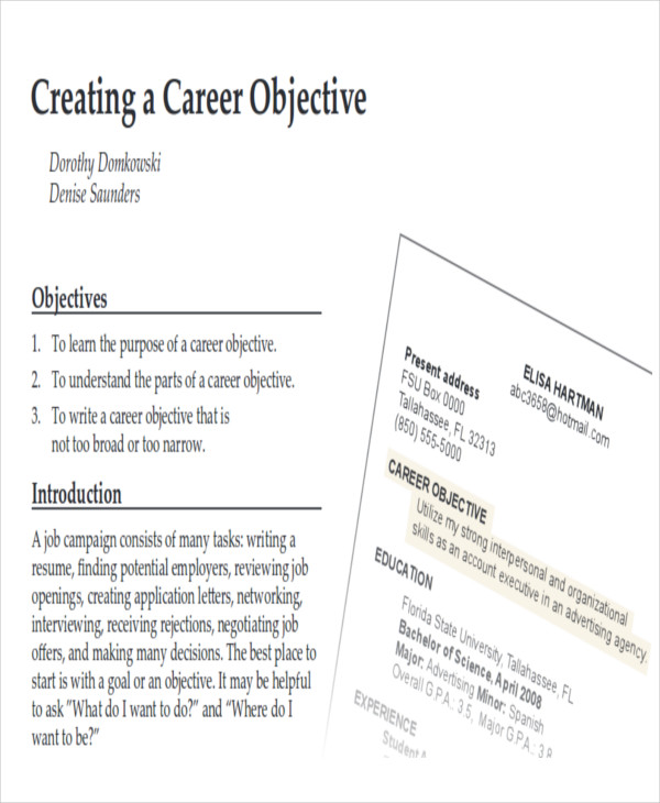 7+ Career Objective Samples Sample Templates - resume career objective sample