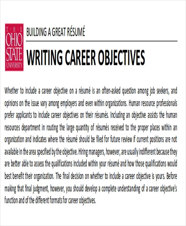 Career Objective Samples oakandale - writing an attention grabbing career objective