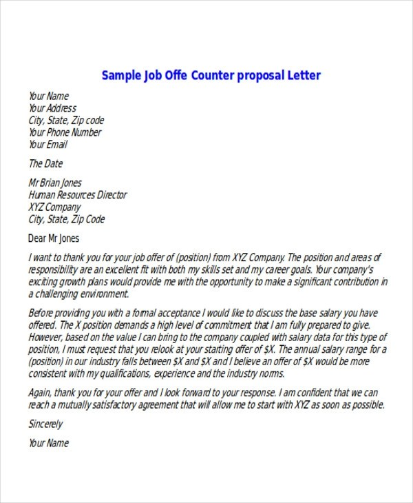 Job Offer Counter Proposal Letter Sample  Sample Restaurant