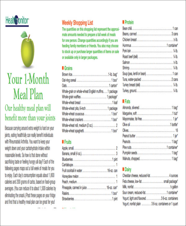 Monthly List Samples Printable Family Budget Template Excel Budget - menu list sample