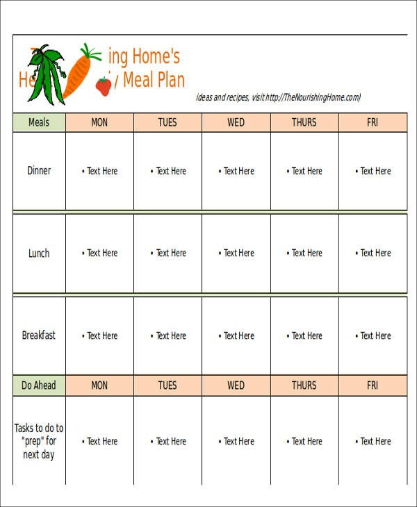 12 Menu Planner Samples  Templates Sample Templates