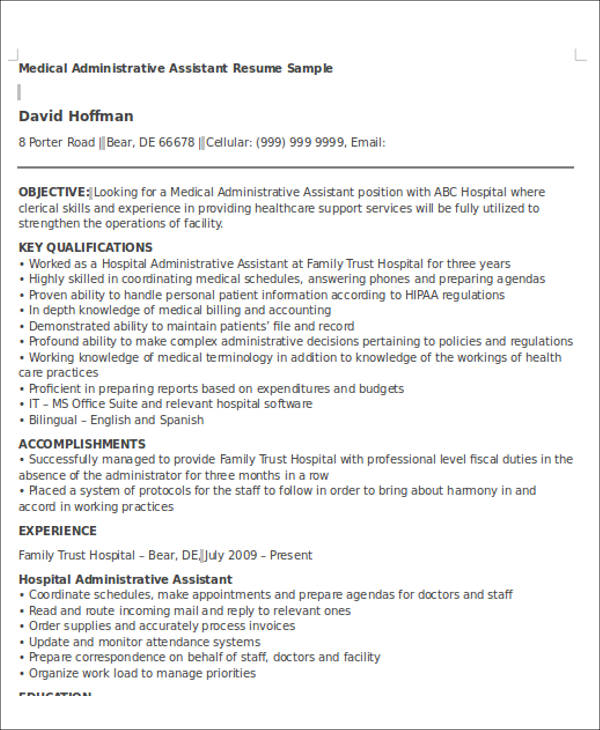 medical administrative assistant resume objective