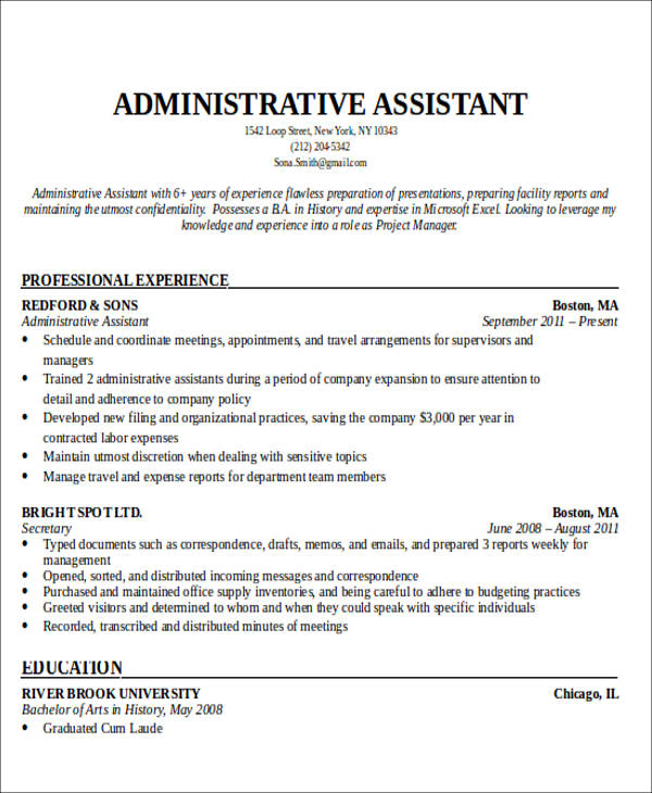best administrative assistant resume objective personal assistant