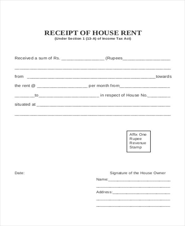 House rent receipt format india – House Rent Payment Receipt Format