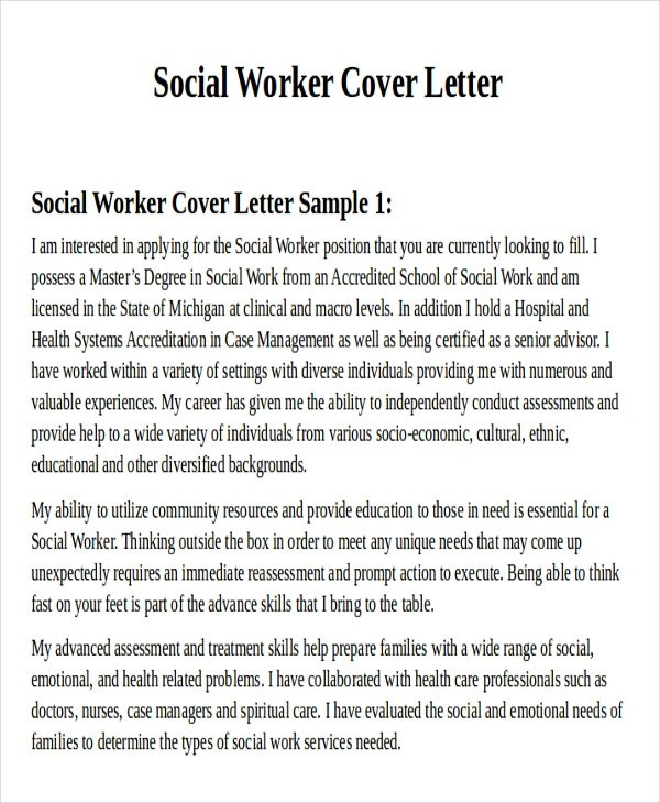 Social Work Cover Letter Social Worker Cover Letter Entry Level - Social Worker Cover Letter