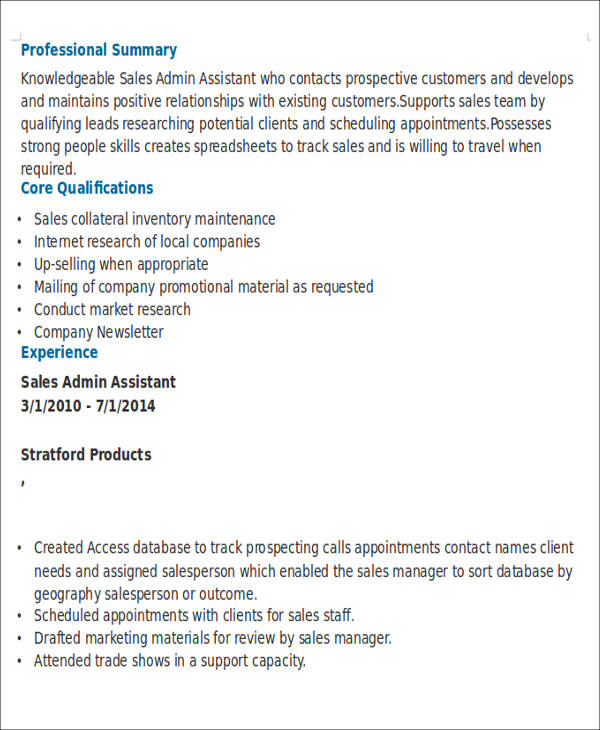 sales admin assistant sample resume node2002-cvresumepaasprovider