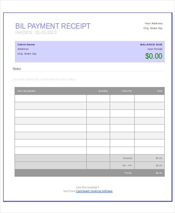 bill format word file