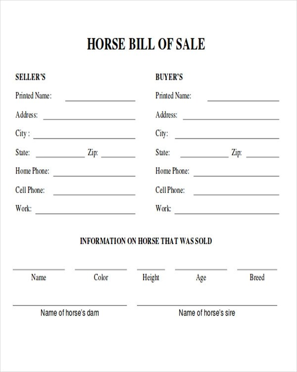 Bill Of Sale Form For Trailer  Sample Of Company Profile