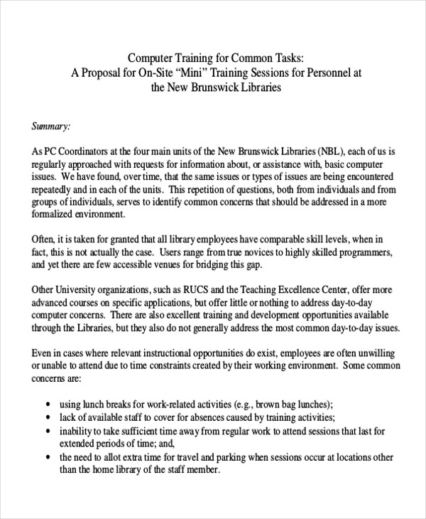 10+ Sample Training Proposal Letters \u2013 PDF, Word Sample Templates - training proposal letter