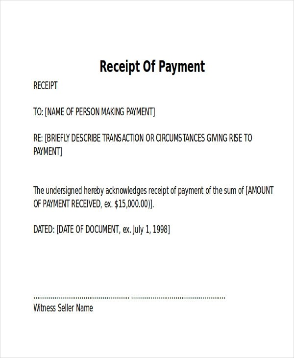 7+ Receipt of Payment Letters \u2013 PDF Sample Templates - Payment Receipt Letter