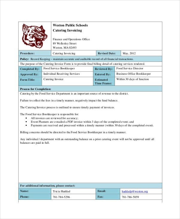 8+ Sample Catering Invoice - Free Sample, Example, Format Download