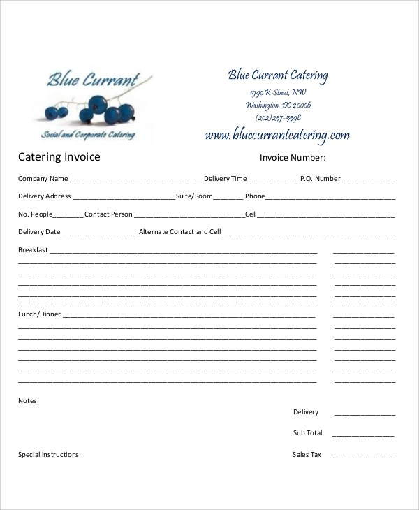 8+ Catering Invoice Samples Sample Templates