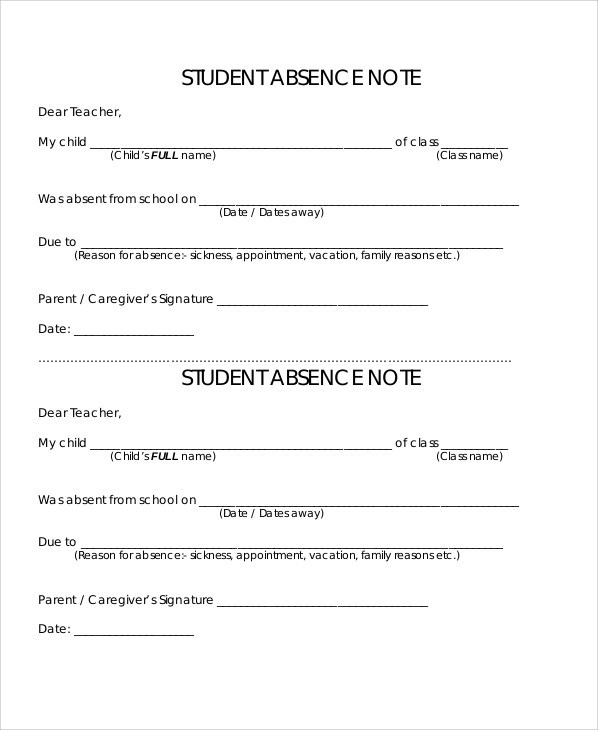 11+ Absence Note Samples Sample Templates