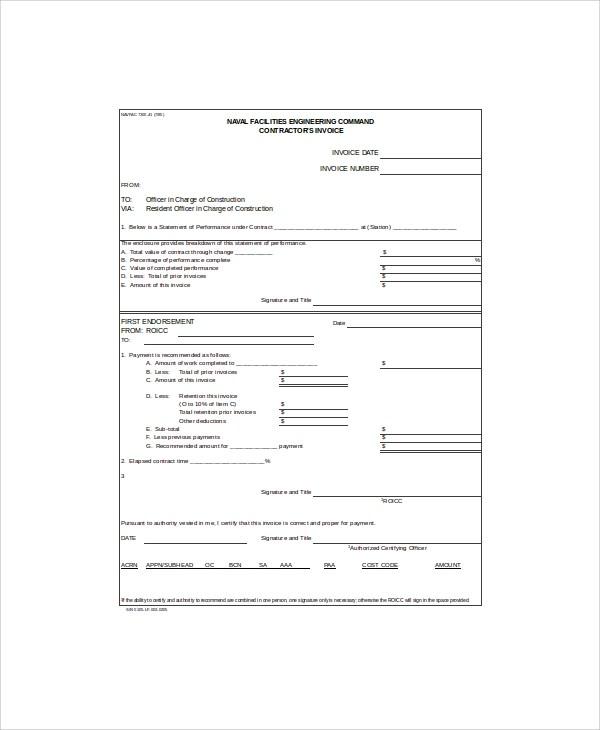 10+ Contractor Invoice Samples \u2013 PDF, Word, Excel Sample Templates