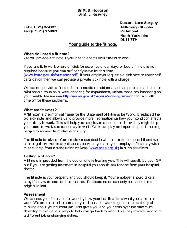 Fit Note Sample - 8+ Examples in Word, PDF