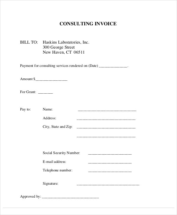 8+ Sample Consulting Invoice - Free Sample, Example, Format Download - consulting invoice sample