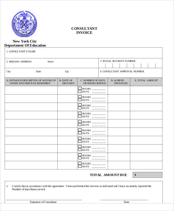 8+ Consulting Invoice Samples \u2013 PDF, Word Sample Templates - consulting invoice templates