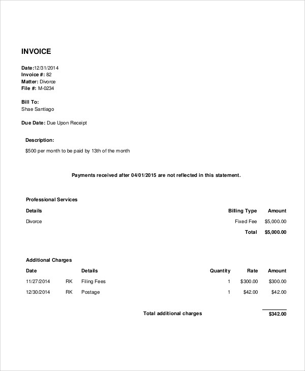 6+ Legal Invoice Samples Sample Templates
