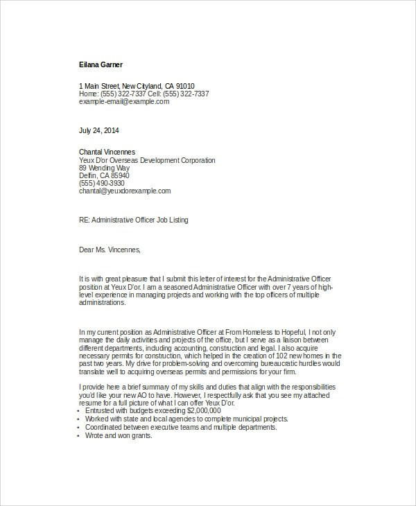 Administrative Cover Letter - 9+ Examples in Word, PDF