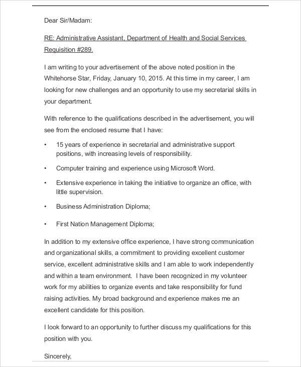 business letter resume example