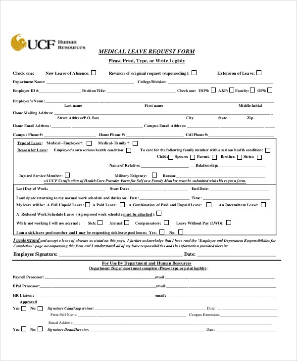 Medical Leave Form Return To Work Form Medical-Leave-Return-To - format of leave application form