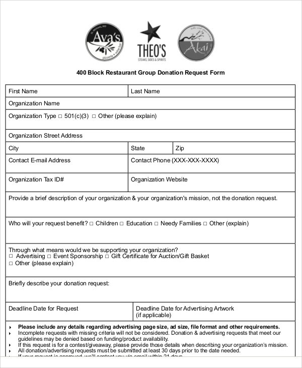 10+ Sample Donation Request Forms Sample Templates