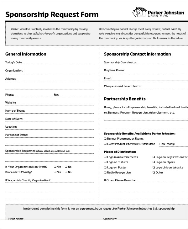 9+ Sample Sponsorship Request Forms Sample Templates