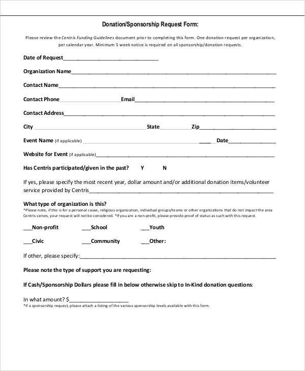 Donation Request Form cvfreepro - sponsorship request form