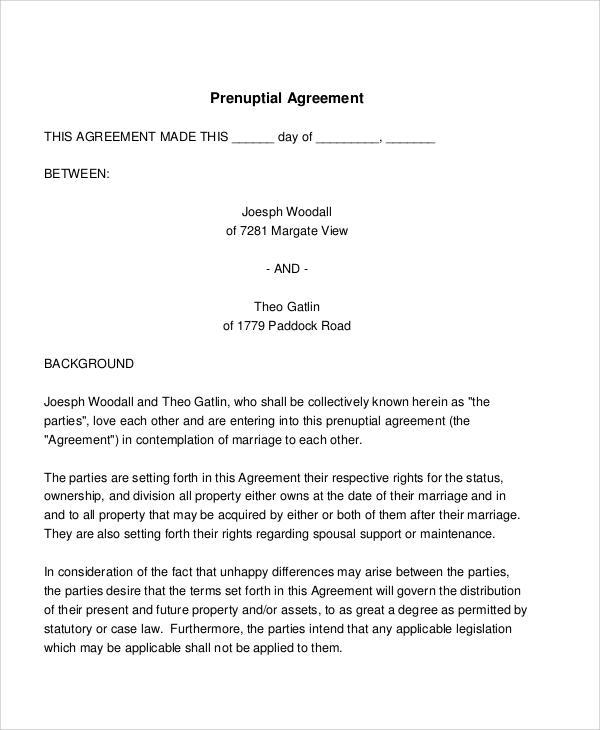 sample prenuptial agreement template hitecauto - basic agreement
