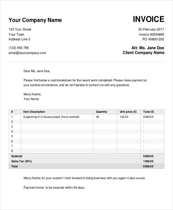 Sample Cash Invoice - 5+ Examples in PDF, Word, Excel