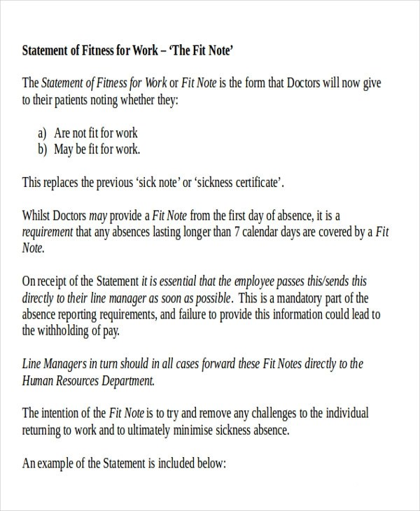 Return to Work Note Sample - 6+ Examples in Word, PDF