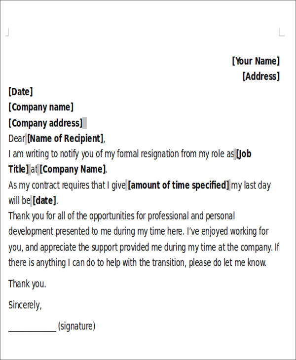 5+ Sample One-Day Resignation Letters \u2013 PDF, Word Sample Templates - how to write a resignation letter