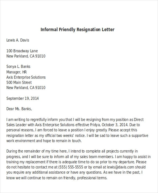 Sample Informal Resignation Letter - 4+ Examples in PDF, Word