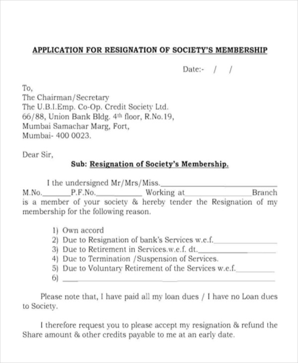 Sample Membership Resignation Letter - 5+ Examples in PDF, Word - retirement letters