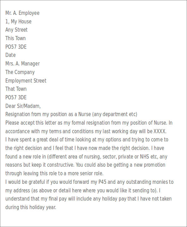 simple immediate resignation letter sample - Format - immediate resignation letter