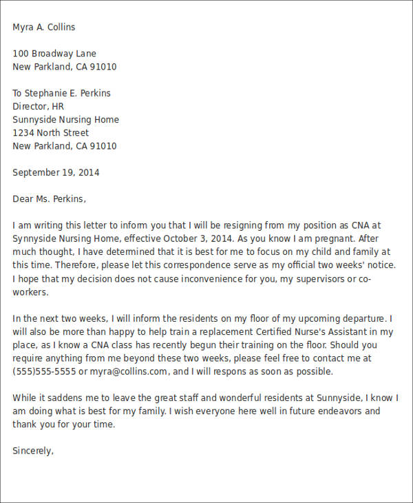 Immediate Resignation Letter Due To Pregnancy Image collections