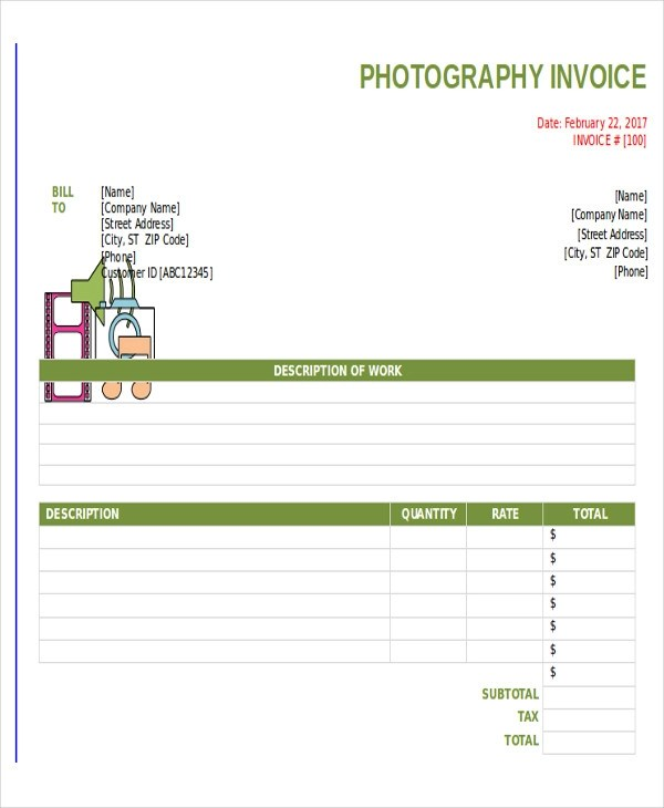 8+ Photography Invoice Samples \u2013 PDF, Word Sample Templates