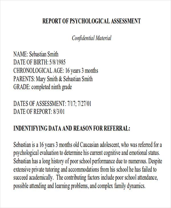 Psychological Report Report Example Iep Example Iep Components Of - psychological report