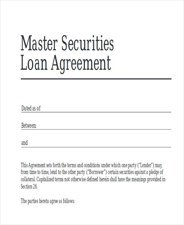 40+ Free Sample Agreements Sample Templates - loan agreement example