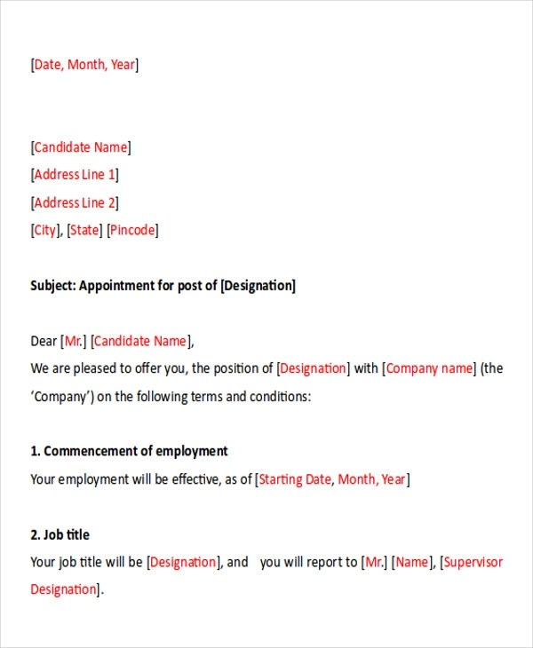Sample Business Appointment Letter - 7+ Examples in PDF, Word