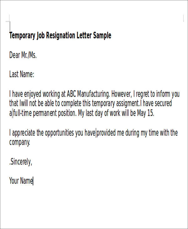 5+ Temporary Resignation Letter Samples Sample Templates - example of resignation letter