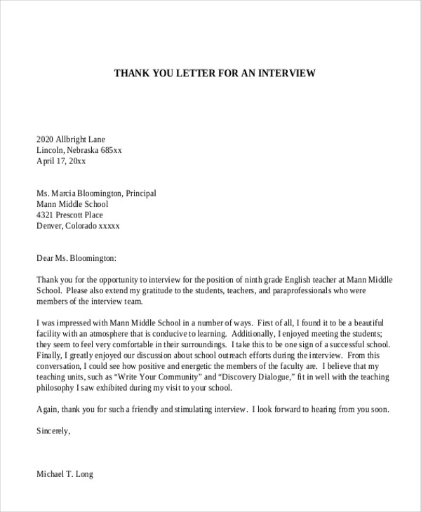 thank you letter for job interview sample