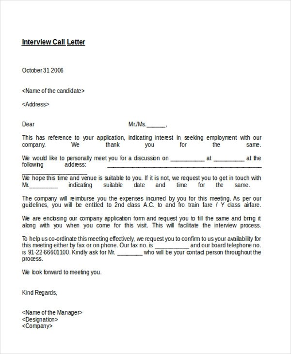 8+ Sample Interview Appointment Letters Sample Templates - appointment letters in doc