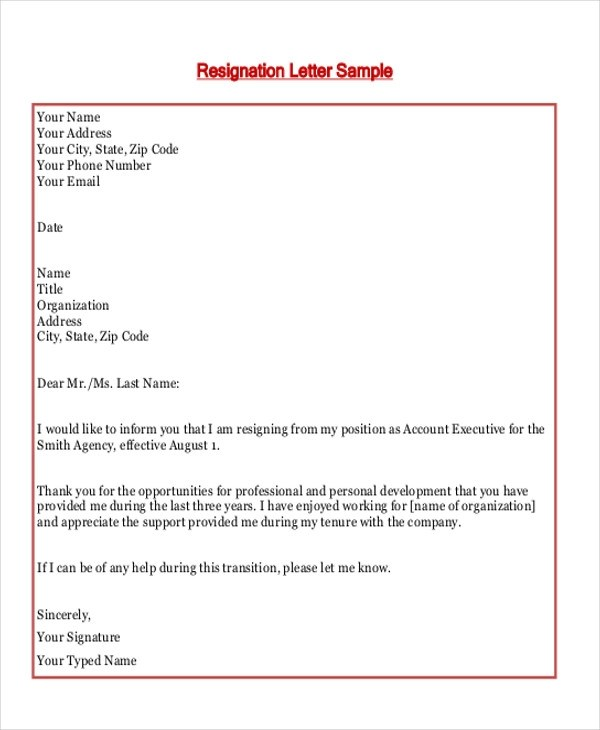 Employment Resignation Letter Template  Employee Resignation Letter
