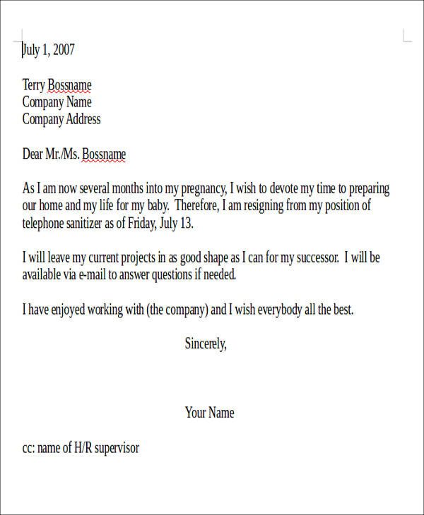 Resignation Letter Employer Sample  Sample Chemical Engineering