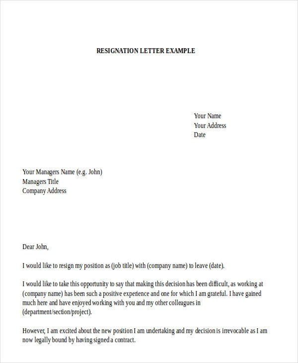 7+ Sample Employment Resignation Letters Sample Templates