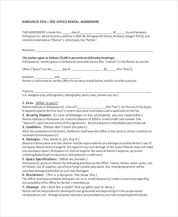 32+ Agreement Format Samples Sample Templates - office rental agreement format
